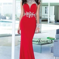 Alyce Paris 6393 Sleeved Jersey Red Prom Dress