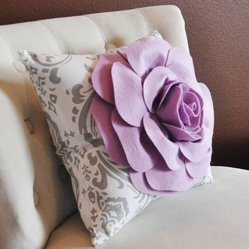 Lilac on Damask Pillow