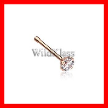 Rose Gold Prong Set Gem Top Steel Nose Stud Ring
