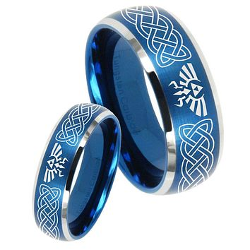 His Her Satin Blue Dome Celtic Zelda Two Tone Tungsten Wedding Rings Set