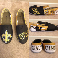 Custom Hand Painted Toms Shoes New Orleans Saints or Any Sports Team Made To Order