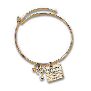 Gold-Tone Key And Places Youll Go Charm Graduation Bangle