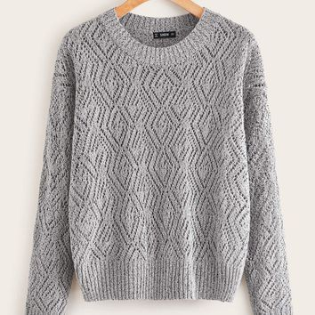 Solid Drop Shoulder Sweater