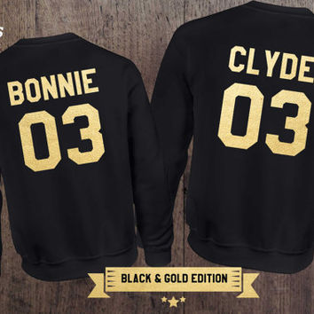 Black & Gold edition: Bonnie Clyde 03 Set of 2 Couple Crewnecks, Bonnie Clyde 03 Set of 2 Couple Sweaters 100% cotton Tee, BLACK, UNISEX