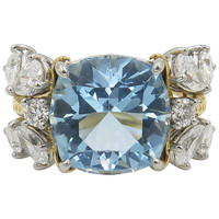 Tiffany & Co. Schlumberger Aquamarine Diamond Gold Cocktail Ring