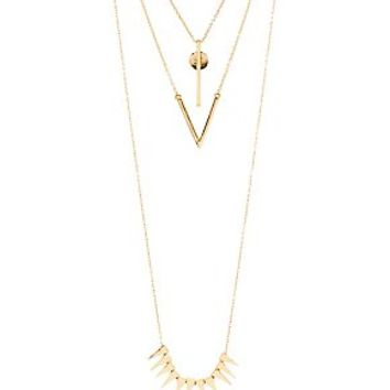 SPIKES & GEOMTERIC LAYERED NECKLACE