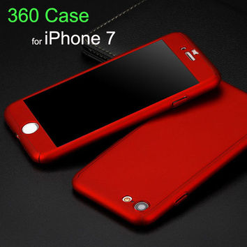 New Arrival 360 Degree Front Back Full Body Protective Skin Case Cover For fundas iPhone 7 7plus Covers With Tempered Glass Film