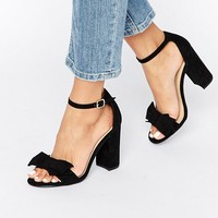 New Look Bow Detail Barely There Block Heel at asos.com
