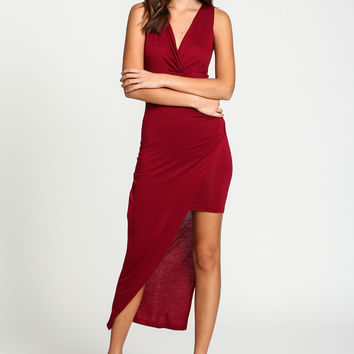 Wrap Draped Asymmetrical Dress