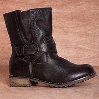 Reneeze No Booties Business Crown-1 Short Faux Leather Boots - Brown