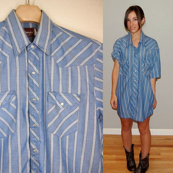Vintage Wrangler Pearl Snap Button Short Sleeve Chambray Shirt,size XL, blue white brown stripe