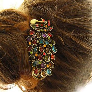 Retro Ladies Vintage Colorful Rhinestone Peacock Barrette Hairpin Hair Clip Jewelry Hair Accessories