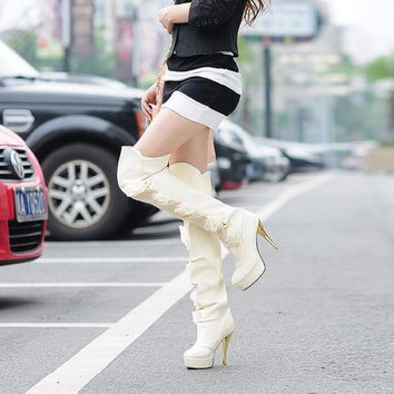 VLX2WL Hot Deal On Sale Shoes Floral High Heel Boots [9432961098]