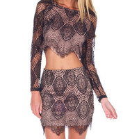 Lace Cut Out Long Sleeve Bodycon Cropped Top Mini Skirt Set