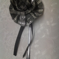 Black and White Plaid Fabric Flower Ribbon Large Silver Bookmark