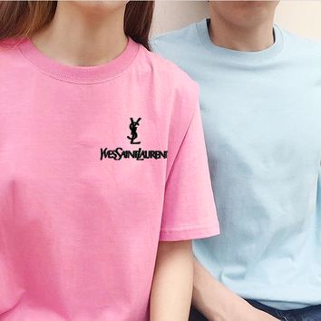 YSL Top Yves Saint Laurent Shirt Sides Embroidery Logo Women Men Tee Shirt Top B-AA-XDD Five Color-Pink