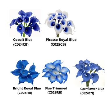 Pack of 10-Real Touch Calla Lily Royal Blue Cobalt Picasso Cornflower blue
