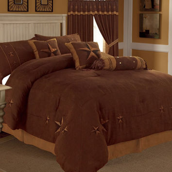 Rustic Brown Gold Texas Star Western Star Luxury Comforter - 7 Pieces Set