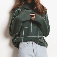 Vintage Plaid Turtleneck Sweater