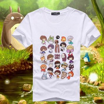 Anime T-Shirt cosplay Anime Unisex Tops Tee Printed Spirited Away T Shirts MenTops For Short Sleeve Miyazaki Hayao t-shirt Japan Cartoon tees TX105 AT_57_4