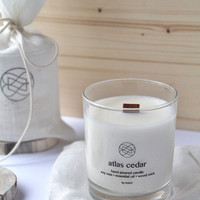KNOT Stylish Long Burning Hand Poured Soy Eco Candles With Wood Wick - Atlas Cedar Essential Oil