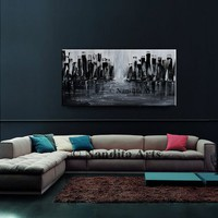 """Original Acrylic Cityscape Large Black Painting Abstract Paintings Modern Cityscape Contemporary Art Large modern art 48"""" abstract fine art"""