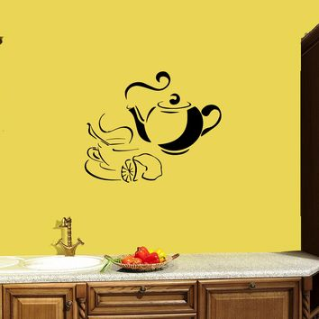 Wall Decal Tea Coffee Kitchen Decor Food Drink Breakfast Vinyl Sticker Unique Gift (ed819)