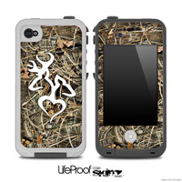 Real Camouflage V3 with WHite Heart Deer Logo Skin for the iPhone 4/4s or 5 LifeProof Case