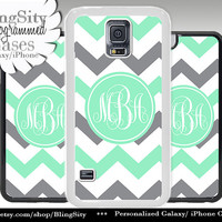 Monogram Galaxy S5 case S4 Mint gray White Chevron Personalized Zig Zag Samsung S3 Note 2 3 4 Cover grey
