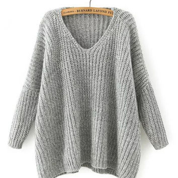 Long Sleeve V-neck Knit Sweater
