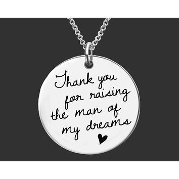Thank You Raising For the Man of My Dreams Gold Necklace | Mother of the Groom