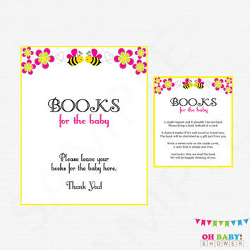 Pink Bee Baby Shower, Bring a Book Instead of a Card, Girl Baby Shower, Bumble Bee Baby Shower, Books for Baby, Printable Baby Shower, BP01