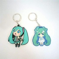 Japan Anime Figures Toys Hatsune Miku PVC Keychain Keyring Pendants Dolls Kids Friends Promotional Gift 2 Sides
