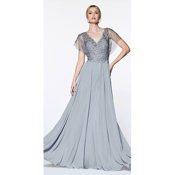 A-Line Chiffon Gown Silver With Lace Bodice And Flutter Sleeve