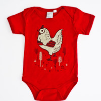 Chicken Onesuit Baby Bodysuit - Organic Baby Clothes by boygirlparty