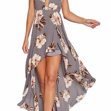 Floral Halter High Low Maxi Dress