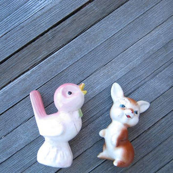 3 Flawed, Adorable Figurines: Ceramic Hand-painted Bunny; Mini White Ceramic Elephant; White/Pink Ceramic Bird Figurine; Kawaii Cute Decor