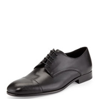 Cap-Toe Lace-Up Shoe, Black