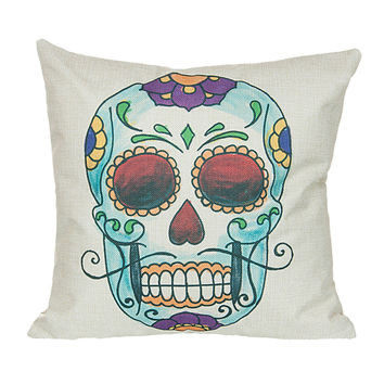 "18"" x 18"" Cotton Linen Square Throw Pillow Case Cushion Cover Skull Pattern  P1004"