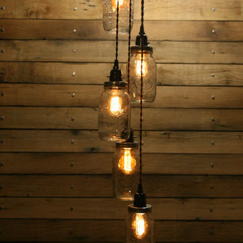 5 Jar Pendant Light - Mason Jar Chandelier Light - Staggered Length Hanging Mason Jar Hanging Pendant Light