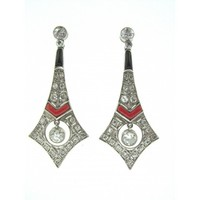 Platinum Art Deco 1.36 Carats Diamond Coral and Onyx Drop Earrings - Jewelry - Vintage | Portero Luxury