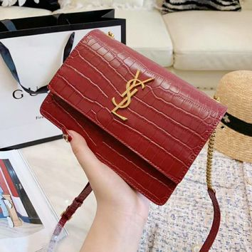 YSL High Quality Fashion Women Leather Metal Chain Crossbody Satchel Shoulder Bag