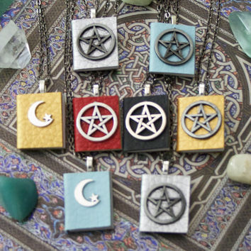 Pentagram Moon Book of Shadows Spell Book Necklace