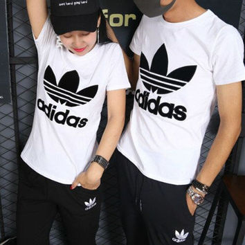 """Adidas"" Fashion Casual Embroidery Stitching Clover Letter Unisex Short Sleeve T-shirt Couple Shirt Top Tee"