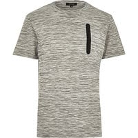 River Island MensGrey space dye zip pocket t-shirt