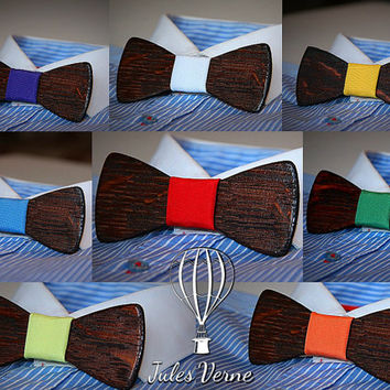 FREE SHIPPING till 10th of December. Customise your wooden bow tie.Mahogany+ 9 colors to choose.Handicraft unique men accessory.Manly gift.