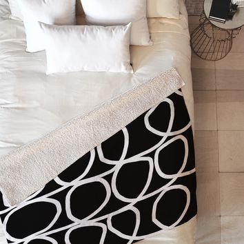 Natalie Baca Loop Di Doo In Black Fleece Throw Blanket