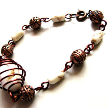 Wire Wrapped White Stone Beaded Bracelet by hanasbeads on Etsy