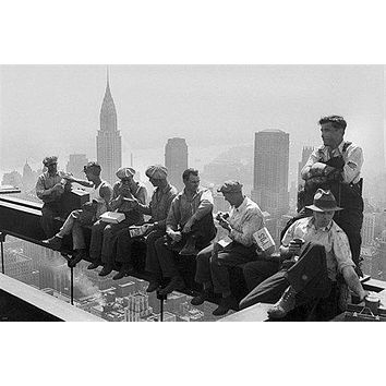ROCKEFELLER BUILDING ironworkers CONSTRUCTION LUNCH poster 24X36 HISTORIC - QW0