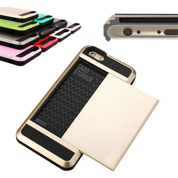 "Slim Credit Card Pocket Back Cover For iPhone 5 5s 6 6s 4.7'' 6Plus 5.5"" Cases"